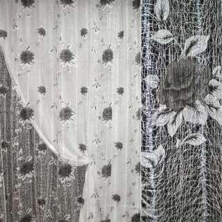 Сетка паутинка гардинная розы серые, молочная, ш.280
