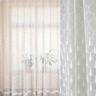 Сетка белая, вышивка чешуя, купон, ш.280