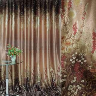 Блэкаут терракотово-коричневый с цветами (купон) ш.270