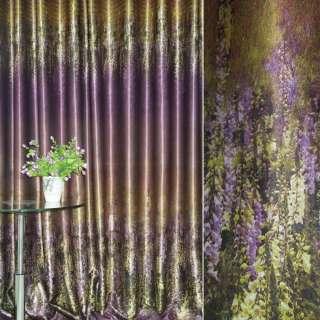 Блэкаут золотисто-сиреневый с цветами и полосами (купон) ш.270