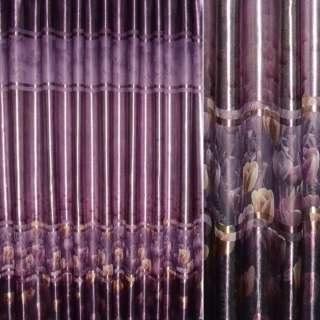 Блэкаут фиолетовый с бежево-золотистыми тюльпанами ш.275