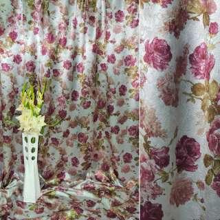 Блэкаут серебро в фиолетовые цветы ш.275