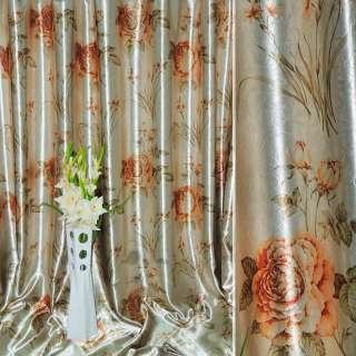 Блэкаут серый светлый с золотисто-рыжими розами и букетами цветов ш.275