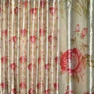 Блэкаут серый светлый с красными розами и букетами цветов ш.275