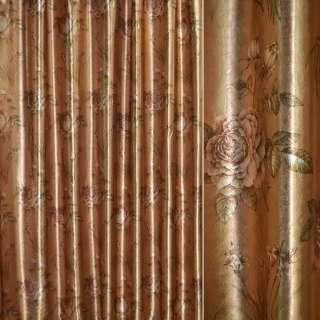 Блэкаут золото с светло-коричневыми розами и букетами цветов ш.275