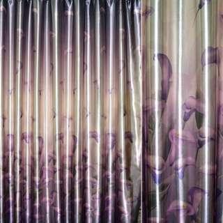 Блэкаут коричневый светлый с фиолетовыми каллами ш.275