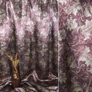 Блэкаут бордовый с декоративными тюльпанами ш.275