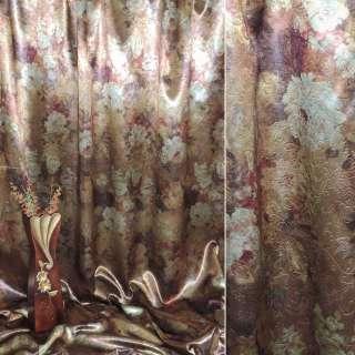 Блэкаут темное золото с цветами ш.275