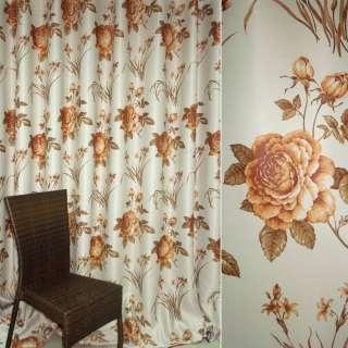 Блэкаут молочно-бежевый с коричневыми розами и букетом цветов ш.280