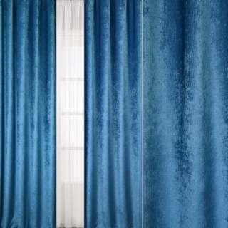 Велюр блэкаут шторный синий светлый, ш.280