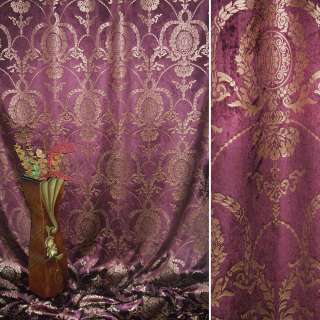 Вельбоа портьерный вишневый темный с золотистыми вензелями (штамп) ш.155