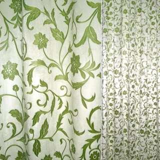 вельбоа порт. молочный в зеленые цветы  (штамп) ш.155
