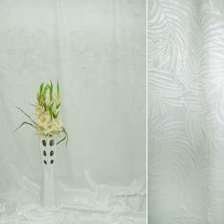 Вельбоа портьерный молочный в листья (штамп) ш.155