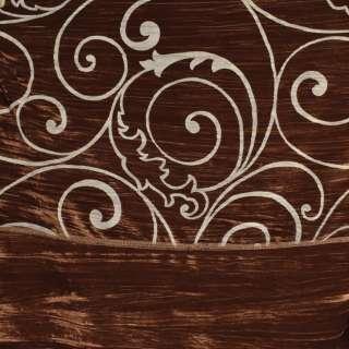 """Ткань порт. велюр жатый коричнев. """"испан. двор."""" ш.270"""