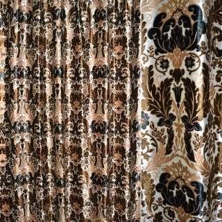 Бархат портьерный белый с коричневыми цветами ш.280