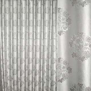 Жаккард с метанитью для штор букет цветов серебристый на сером фоне, ш.280