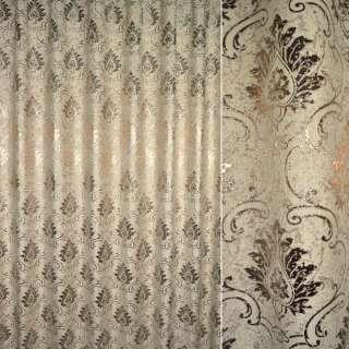 Шенилл жаккард с метанитью для штор вензель бежевый на сливочном фоне, ш.280