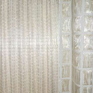Органза портьерная двойная молочная с бежевыми и белыми нитями в квадраты ш.270