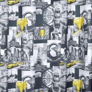 Креп портьерный черный, черно-белые фото, Эйфелева башня, ш.280