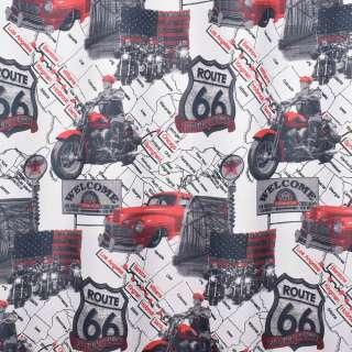 Креп портьерный белый, красная машина, карта США, ш.280