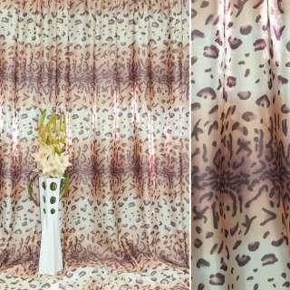 """Атлас в бежево-белые+розовые полосы """"леопард"""" ш.280"""