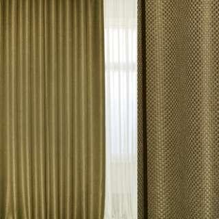 "Блэкаут лен ""шахматка"" золотисто-бежевый ш.280"