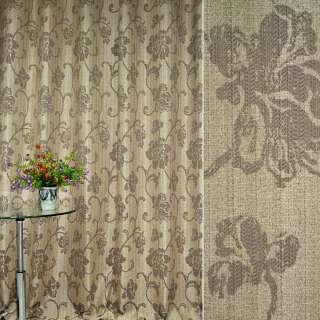 Лен жаккард для штор рисунок долевой цветы завитки бежевые на коричневом светлом фоне, ш.280