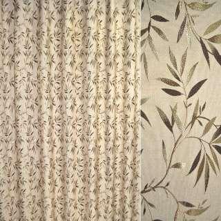 Лен жаккард для штор веточка с листьями коричнево-золотистая на песочном фоне, ш.280