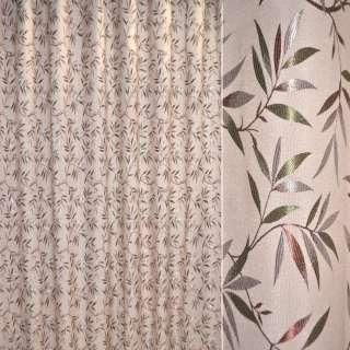 Лен жаккард для штор веточка с листьями коричнево-зеленая на бежево-розовом фоне, ш.280