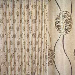 Лен жаккард для штор цветочные розетки, волны коричнево-золотистые на песочном фоне, ш.280