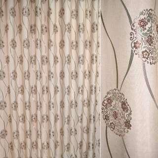 Лен жаккард для штор цветочные розетки, волны коричнево-зеленые на бежево-розовом фоне, ш.280