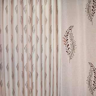 Лен жаккард для штор веточка ягод и листьев зелено-розовые на бежево-розовом фоне, ш.280
