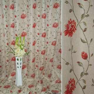 Лен жаккард для штор цветы бутоны на веточках красные на молочно-розовом фоне, ш.280