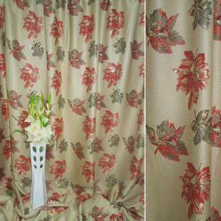 Лен жаккард для штор листья зелено-красные на оливковом светлом фоне, ш.280
