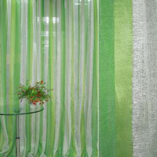 Лен жаккард облегченный для штор полосы зеленая, салатовая, кремовая ш.300