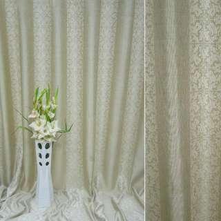 Лен жаккард для штор полосы орнамент тюльпаны песочно-молочный, ш.270
