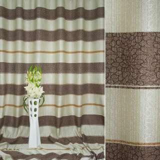 Лен для штор полосы цветочные песочно-коричневый, ш.280