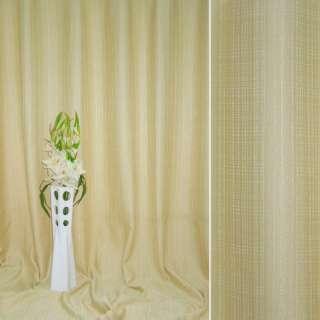 Лен жаккард для штор полосы-штрихи с шениллом бежево-молочный, ш.280
