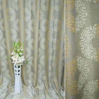 Лен жаккард для штор цветочные розетки бежевый, ш.275