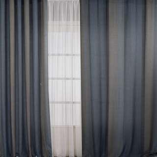 Лен для штор полоса бежевая на серо-синем фоне, ш.308