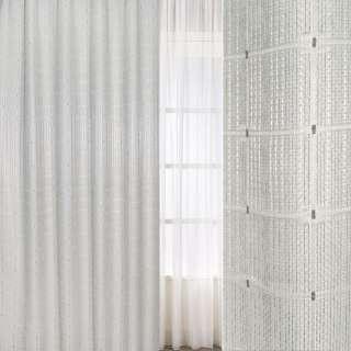Рогожка жаккард для штор клетка, серые нити-полосы  молочная, ш.275