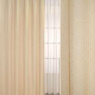 Рогожка жаккард для штор клетка, молочные нити-полосы бежевая, ш.275
