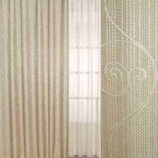 Рогожка жаккард для штор завиток, коричневые нити-полосы бежевая, ш.275