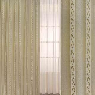 Рогожка жаккард для штор полосы молочные с веточками на оливковом фоне, ш.280