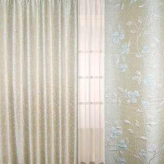 Рогожка-фукра бежевая светлая с люрексом с вьющимися бледно-голубыми цветами ш.280