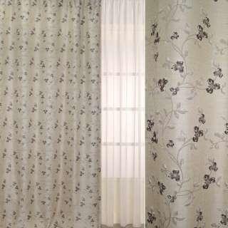 Рогожка-фукра бежевая светлая с люрексом с вьющимися коричневыми цветами ш.280