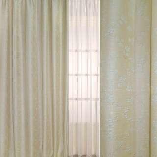 Рогожка-фукра бежевая светлая с люрексом с ромбами из бледно-голубых цветов ш.280