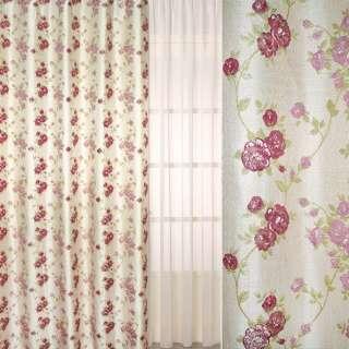 Рогожка-фукра бежевая светлая с люрексом с розово-бордовыми цветами ш.280
