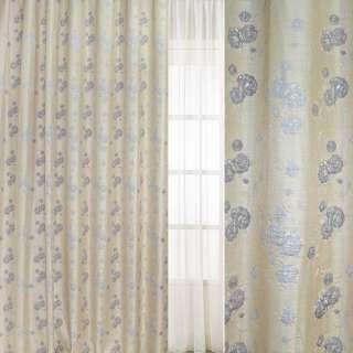 рогожка-фукра св/бежевая с люрексом с серебр.-серыми цветами  ш.280