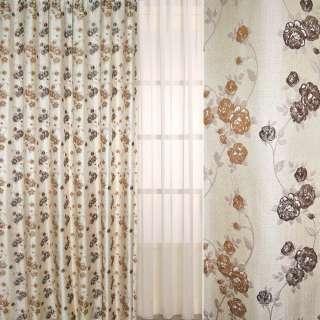 Рогожка-фукра бежевая светлая с люрексом с коричнево-шоколадными цветами ш.280
